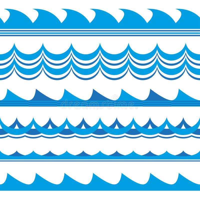 Golfreeks Het naadloze patroon van golven Overzees en oceaandiegolven op witte achtergrond wordt geïsoleerd Vector illustratie vector illustratie