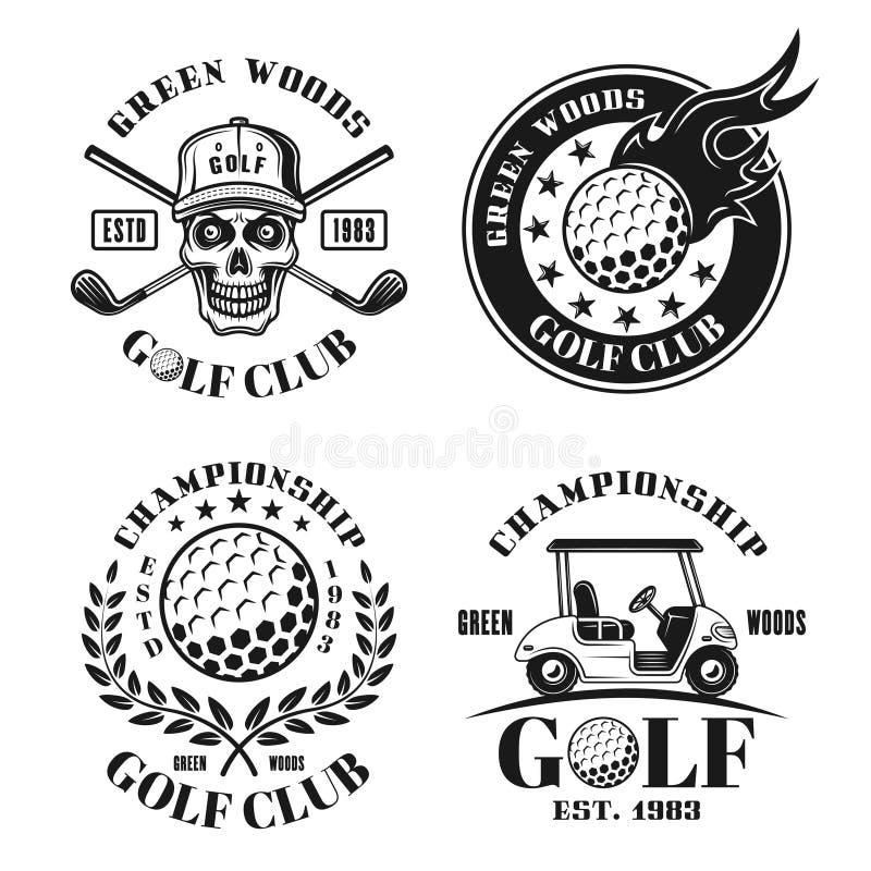 Golfreeks van vier vector geïsoleerde uitstekende emblemen royalty-vrije illustratie