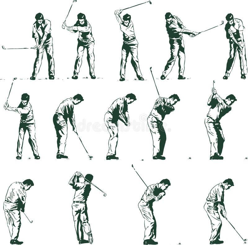 Golfschwingen positioniert vektorabbildung stock abbildung