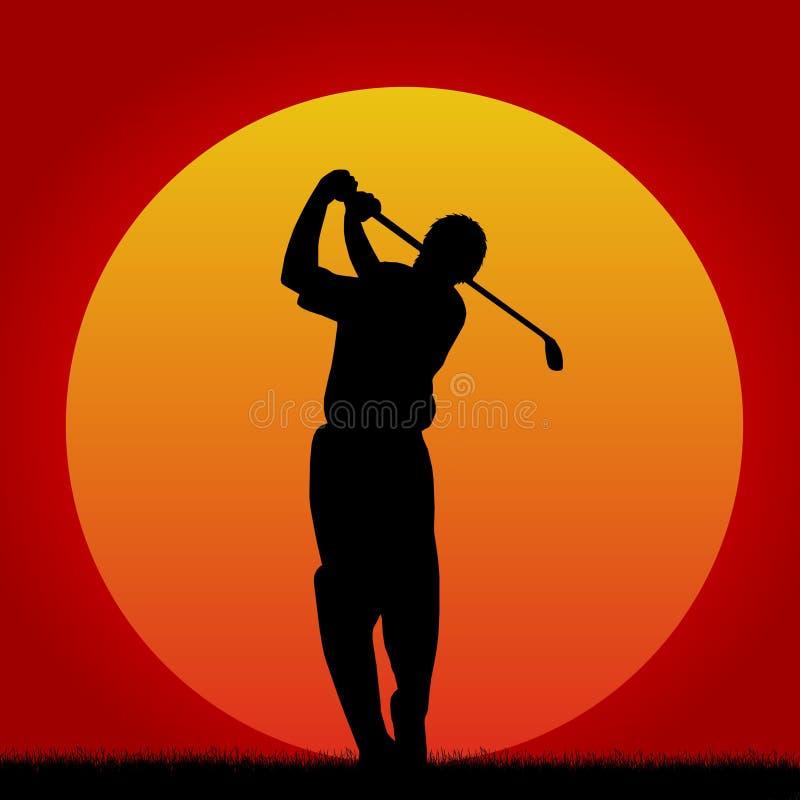golfsolnedgång stock illustrationer