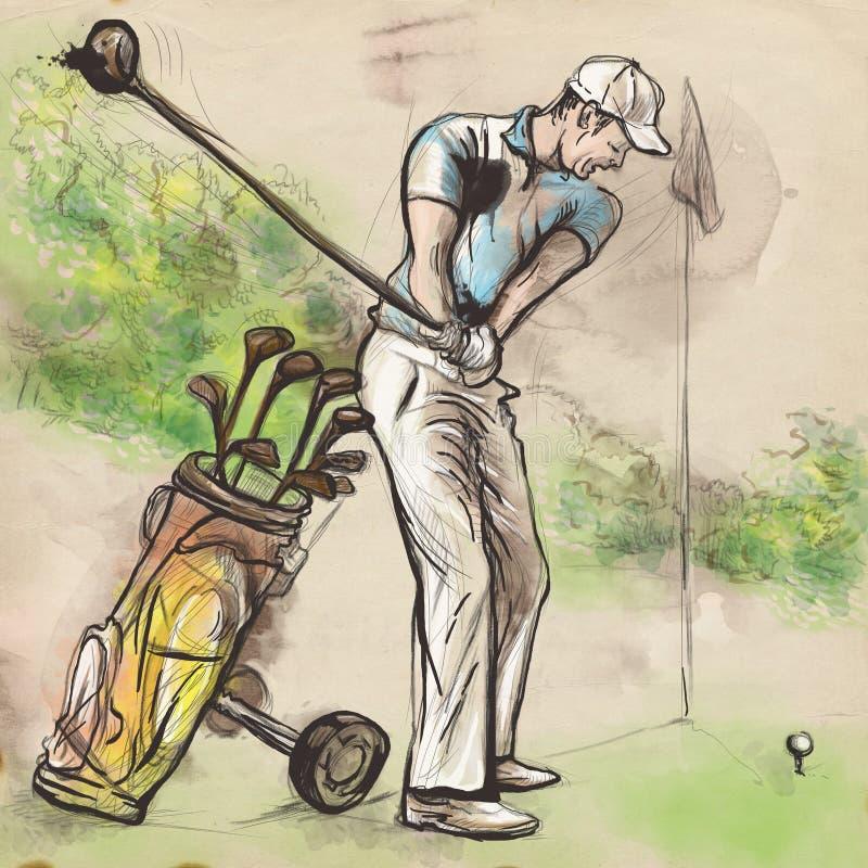 Golfspelare - dragen och målad illustration för en hand royaltyfri illustrationer