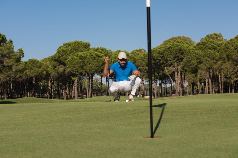 Golfspelare som siktar det perfekta skottet royaltyfria foton