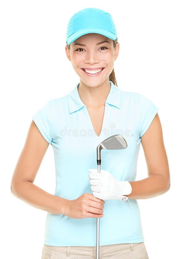 golfspelarekvinna arkivfoto