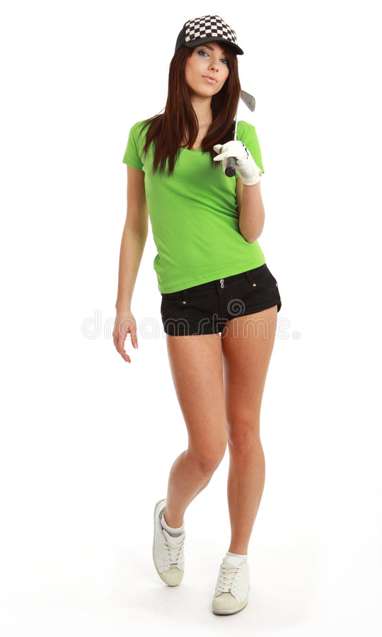 golfspelarekvinna royaltyfria bilder