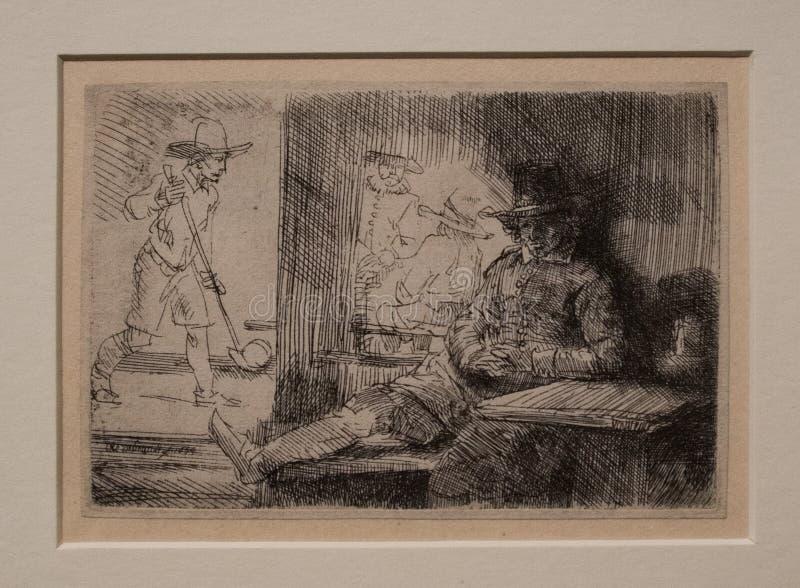 Golfspelaren från 1654 vid Rembrandt arkivbilder