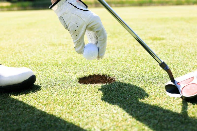 Golfspelaren tar bollen ut ur h?let royaltyfri foto