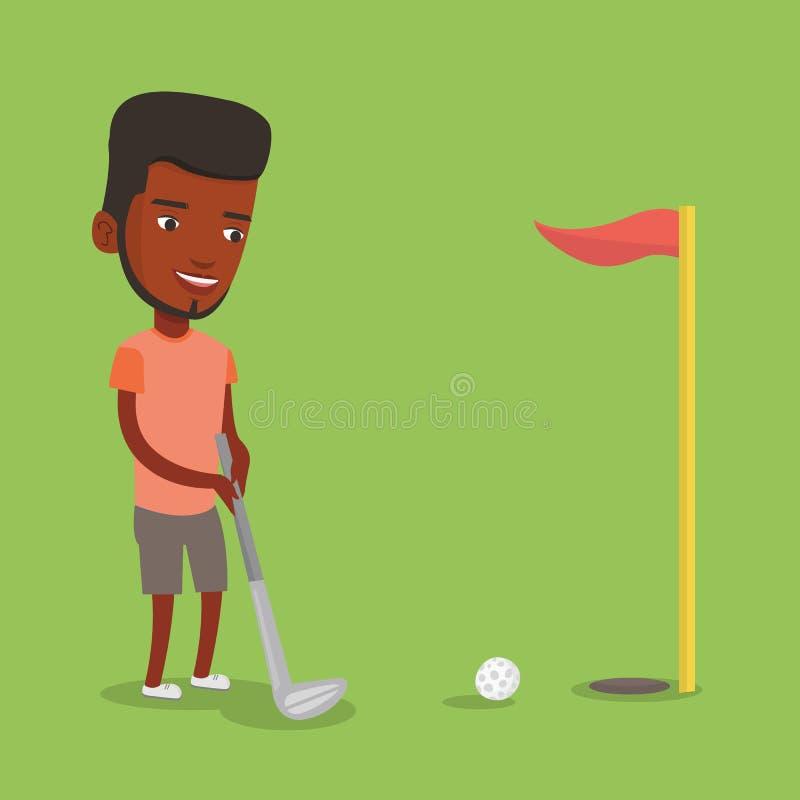 Golfspeler die de bal vectorillustratie raken stock illustratie