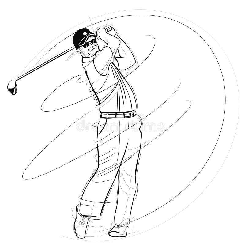 Golfspeler die de club slingert stock illustratie