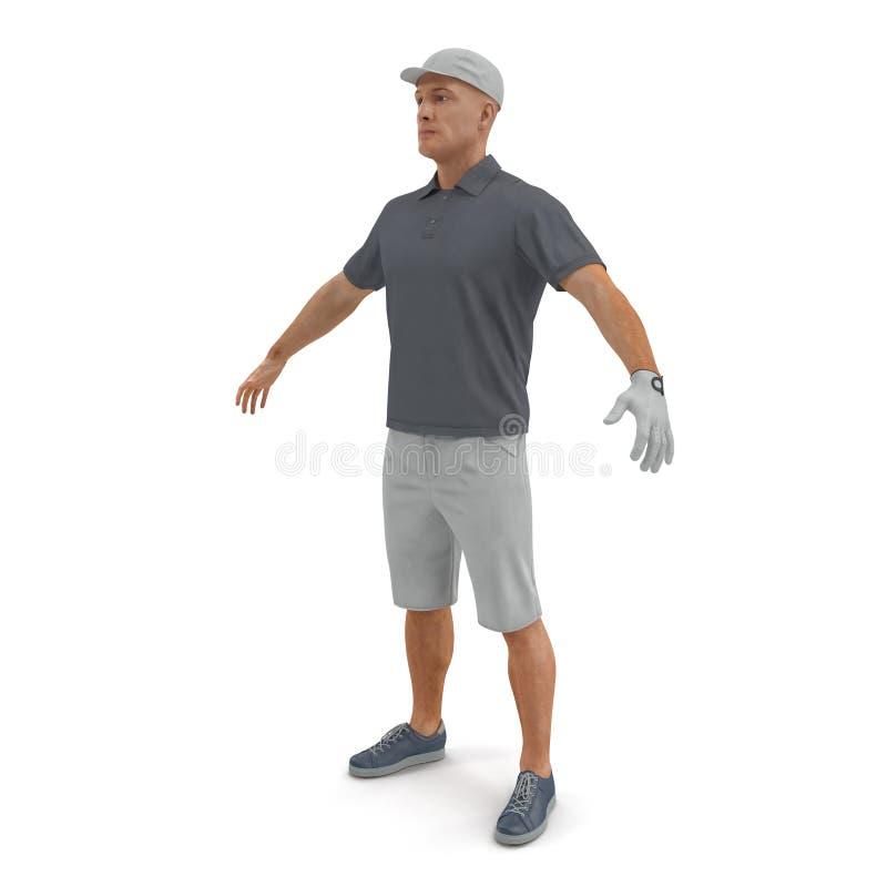 Golfspeler in een grijs overhemd op een wit 3D Illustratie vector illustratie
