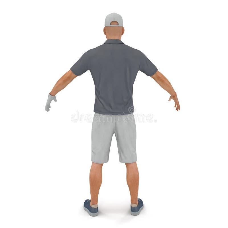 Golfspeler in een grijs overhemd op een wit 3D Illustratie stock illustratie