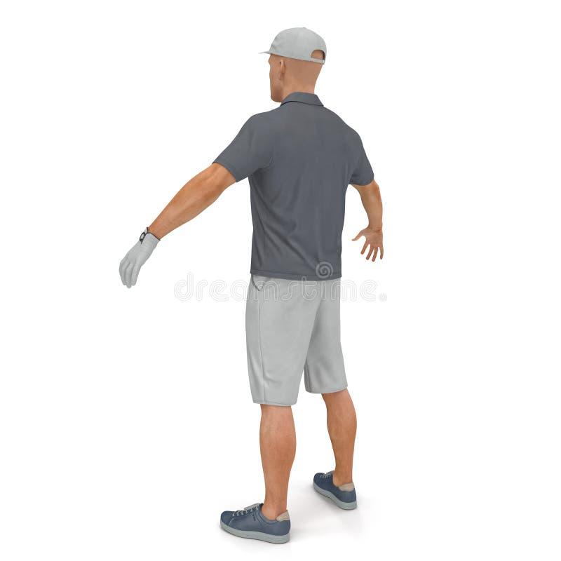 Golfspeler in een grijs overhemd op een wit 3D Illustratie royalty-vrije illustratie