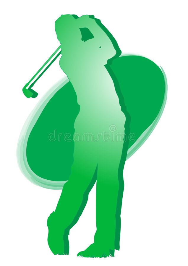 Golfspeler - groen sportpictogram stock illustratie
