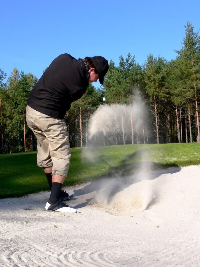 Golfspeler - het Schot van de Bunker royalty-vrije stock afbeeldingen