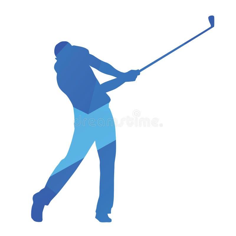 Golfspeler, het vectorsilhouet van de golfschommeling vector illustratie