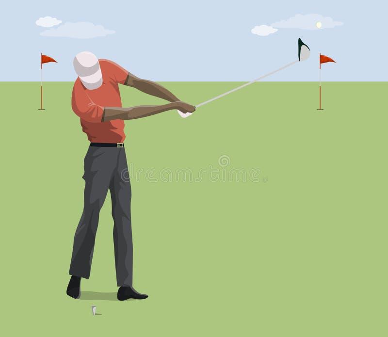 Golfspeler met club vector illustratie