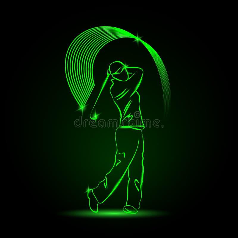 Golfspeler met een stok royalty-vrije illustratie