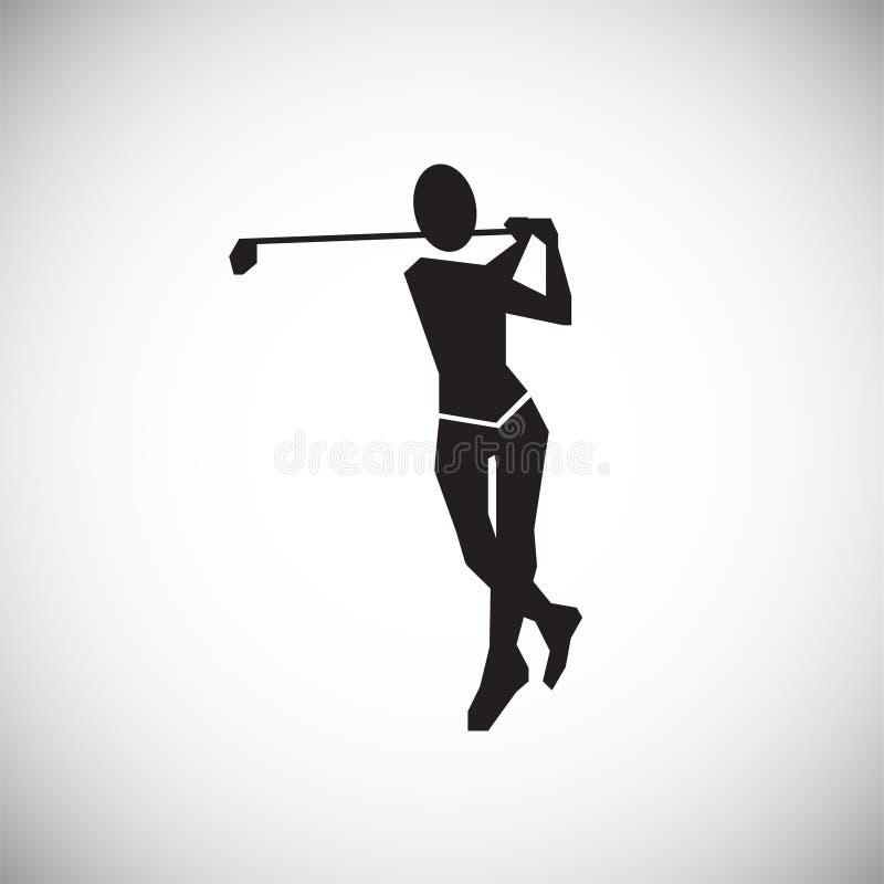Golfspeler op witte achtergrond royalty-vrije illustratie
