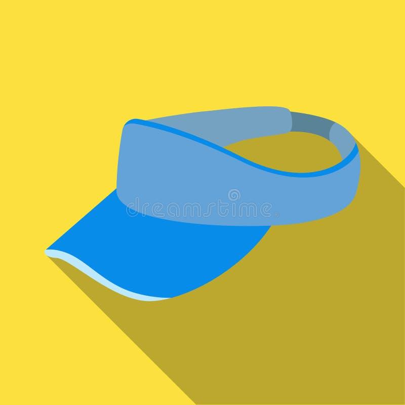 Golfspeler` s hoofddeksel Golfclub enig pictogram in het vlakke Web van de de voorraadillustratie van het stijl vectorsymbool stock illustratie