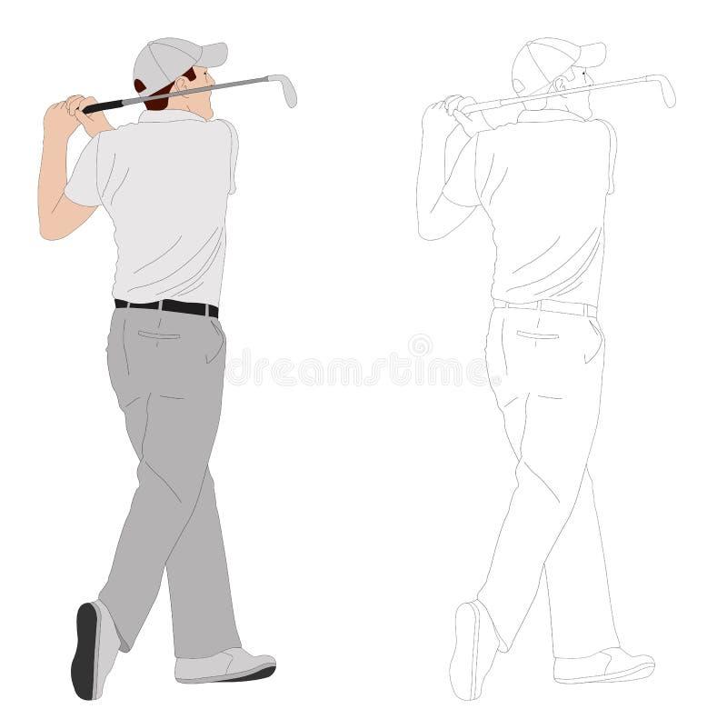 Golfspelerillustratie vector illustratie