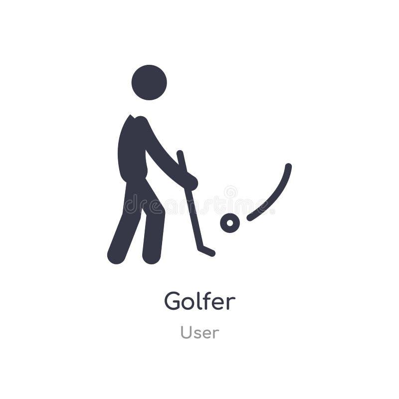 Golfspelerpictogram de geïsoleerde vectorillustratie van het golfspelerpictogram van gebruikersinzameling editable zing symbool k royalty-vrije illustratie
