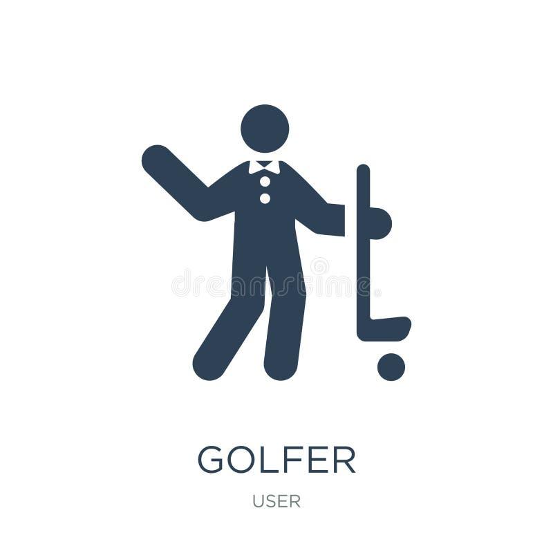 golfspelerpictogram in in ontwerpstijl golfspelerpictogram op witte achtergrond wordt geïsoleerd die eenvoudige en moderne vlakke stock illustratie