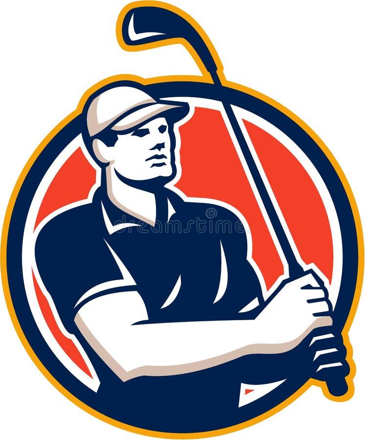 Golfspelert-stuk van Retro Golfcirkel stock illustratie