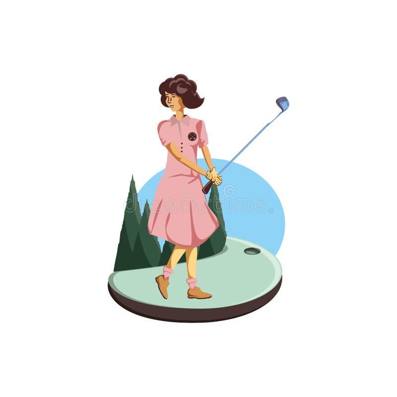 Golfspelervrouw met gebied en stokgolf stock illustratie