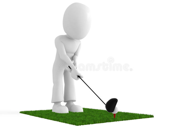 Golfspieler 3d in der Tätigkeit betriebsbereit zum Schuß lizenzfreie abbildung