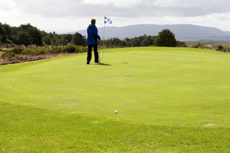 Golfspieler, der auf Grün steht lizenzfreie stockfotos