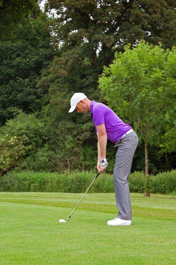 Golfspieler, der den Ball adressiert lizenzfreie stockfotografie