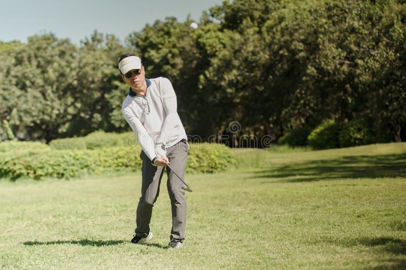 Golfspieler, der Golfball auf grünem Gras der Fahrrinne schlägt lizenzfreie stockfotografie