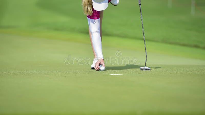 Golfspieler, der Golfball auf grünes Gras setzt, damit Kontrollfahrrinne durchlöchert lizenzfreie stockbilder