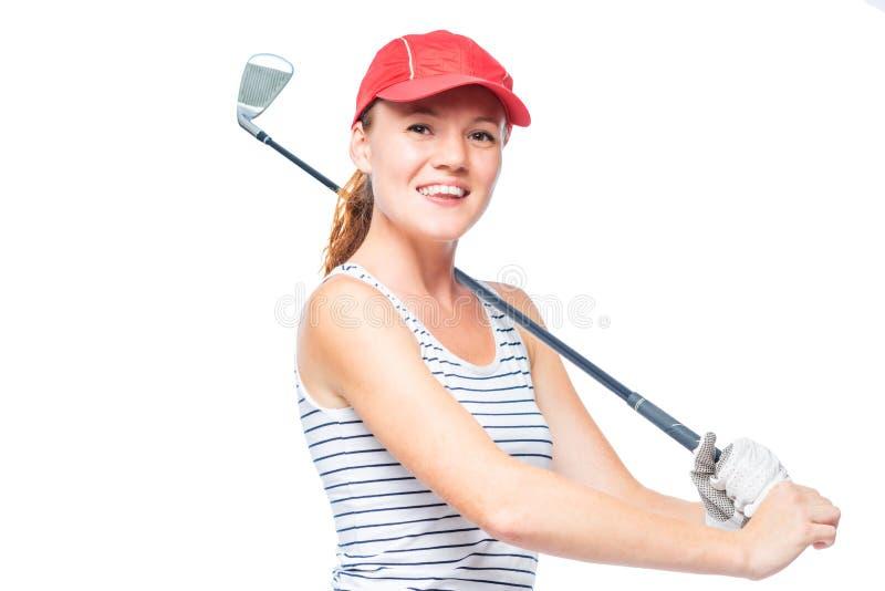 Golfspieler, der Golfstock auf Schulter beim Lächeln setzt stockbild
