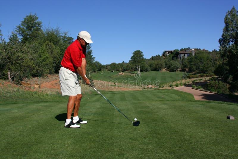Golfspieler, der Kugel adressiert stockbilder