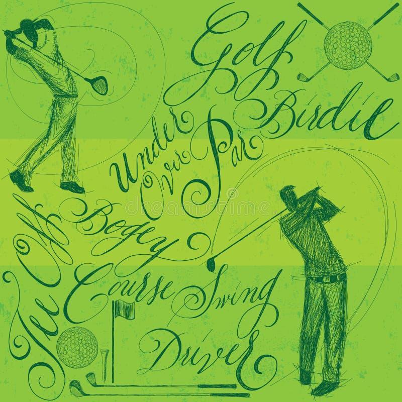 Golfspieler mit Kalligraphie stock abbildung