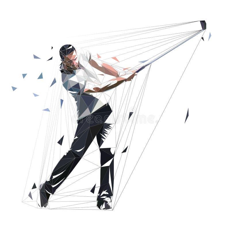 Golfspieler, niedriger polygonaler Golfspieler, isolierte Vektorgrafik Golfschwung stock abbildung