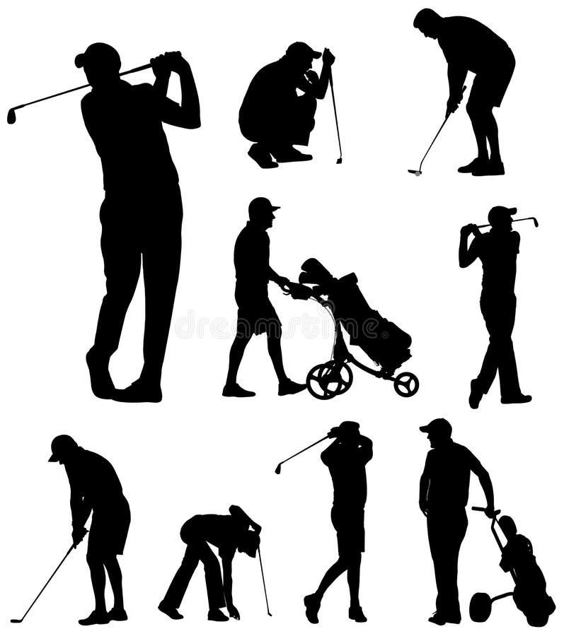 Golfspieler silhouettiert Sammlung vektor abbildung