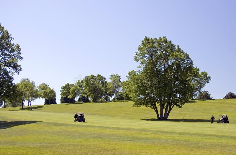 Golfspieler und Wagen auf Fahrrinne stockfotografie
