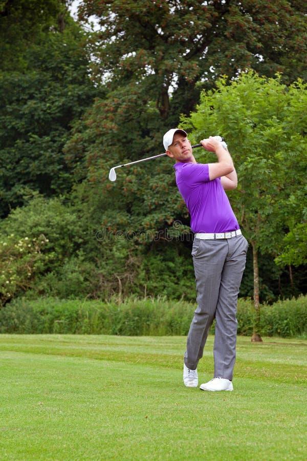GolfspielerZielposition stockfotos