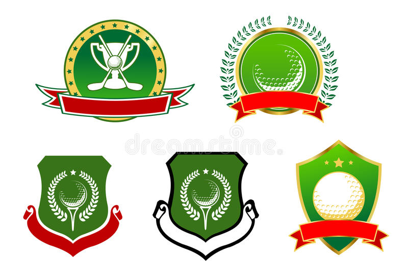 Golfsportsymboler, emblems och tecken royaltyfri illustrationer