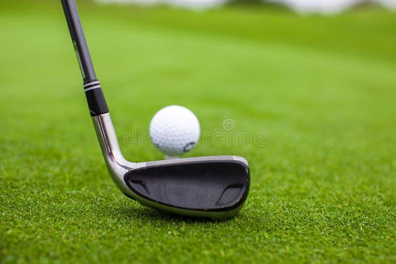 Golfstock und -ball auf grünem Gras stockbilder