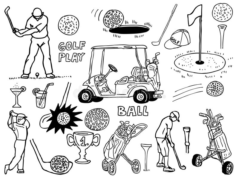 golfsymboler royaltyfri illustrationer