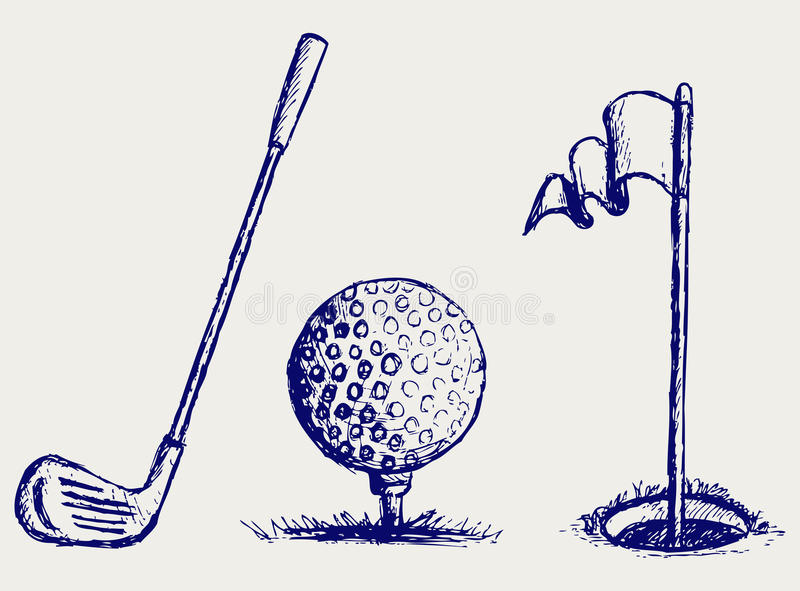 Golfsymbolsset royaltyfri illustrationer