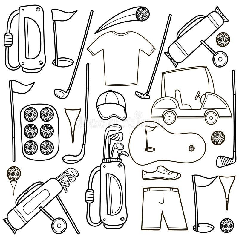 Golfsymbolsuppsättning i tecknad filmstil stock illustrationer
