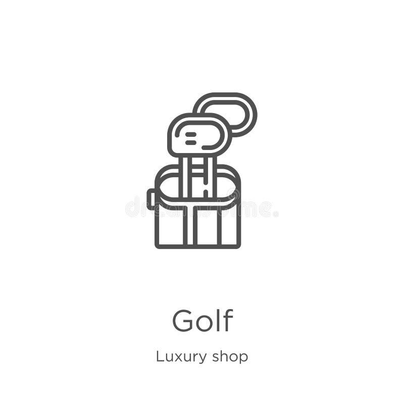 golfsymbolsvektorn från lyx shoppar samlingen Tunn linje illustration f?r vektor f?r golf?versiktssymbol ?versikt tunn linje golf royaltyfri illustrationer