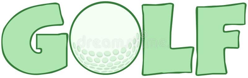 Golftext med golfboll royaltyfri illustrationer