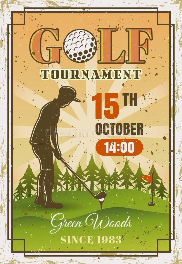 Golftoernooien gekleurde affiche met golfspeler royalty-vrije illustratie