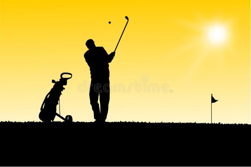 Golftrolley+golfer yellow royalty free illustration