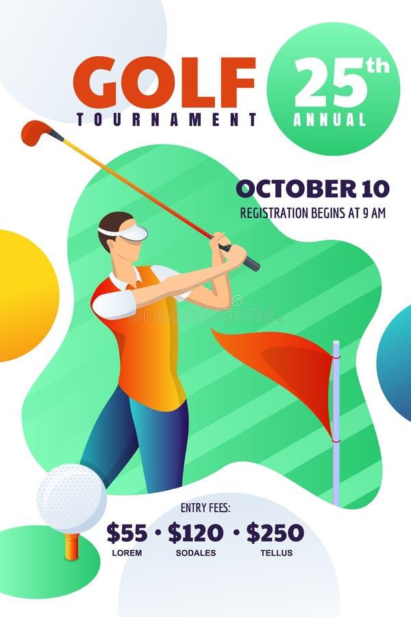 Golfturnering eller konkurrens, affisch, reklamblad, biljettorientering Vektorillustration av mannen som spelar golf och slag bol royaltyfri illustrationer
