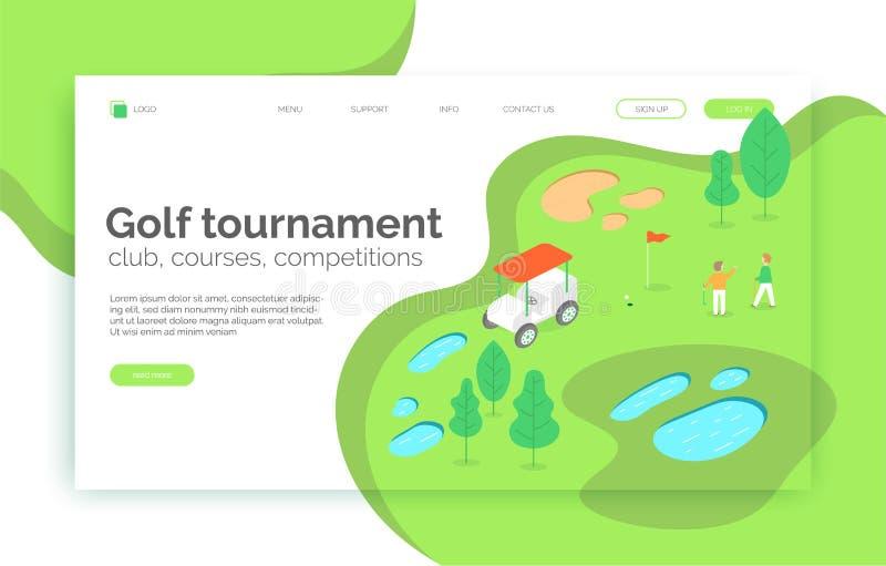 Golfturnering, kurser, konkurrens, skolawebbplats som landar sidan, presentation, orientering, app, baner stock illustrationer